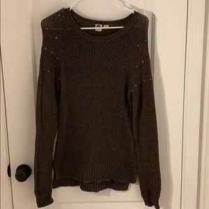 Roxy olive green sweater with shoulder studs